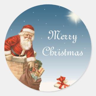 Santa going down the Chimney Vintage design Sticker