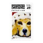 Santa Golden Retriever Postage Stamps