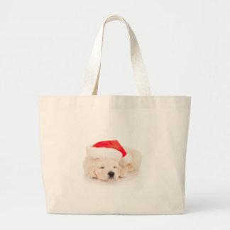Santa Golden Retriever Puppy Large Tote Bag