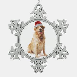 Santa Golden Retriever Snowflake Pewter Christmas Ornament
