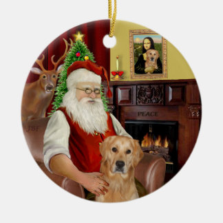 Santa - GoldenRetriever (K) Ceramic Ornament