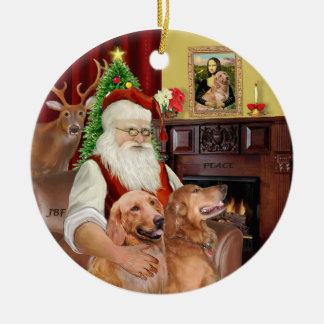 Santa - GoldenRetriever (TWO-B) Double-Sided Ceramic Round Christmas Ornament