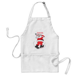 Santa golfing Christmas gifts. Adult Apron