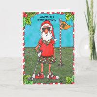 Santa Golfing Holiday Card