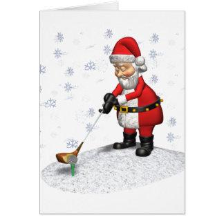 santa golfing mientras que nieva tarjeta de felicitación