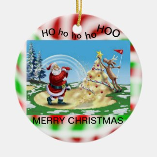 Santa Golfing on a Christmas Ornament