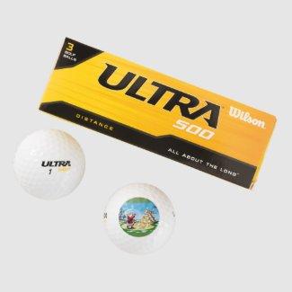 Santa Golfing on Wilson Golf Balls