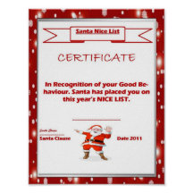 Santas nice list posters zazzle yadclub Image collections