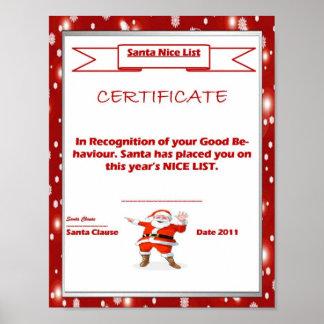 Santa Good List Certificate Template Poster