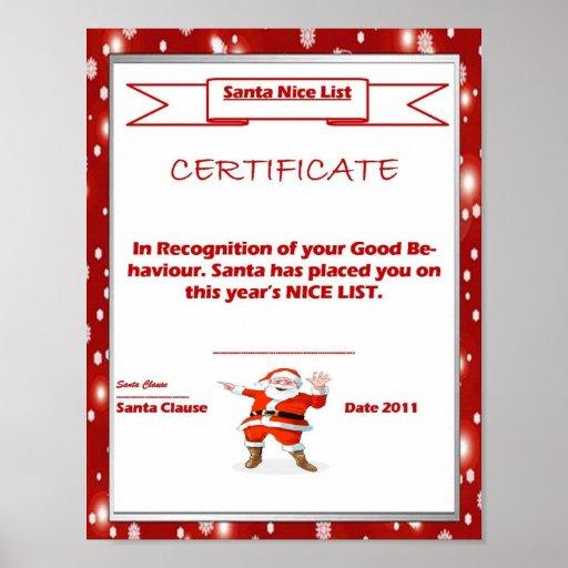 Santa Good List Certificate Template Print | Zazzle