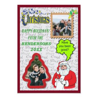 Santa Greeting Tree and Square Add Photo Flat Card