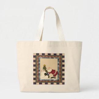 Santa Greets Snowman Jumbo Tote Bag