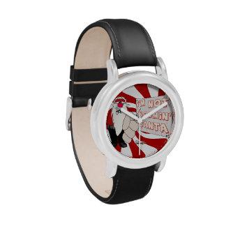 Santa gruñón embroma el reloj del acero inoxidable