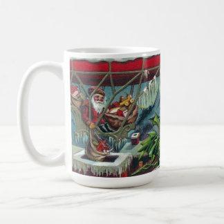 Santa hace entregas del dirigible tazas de café