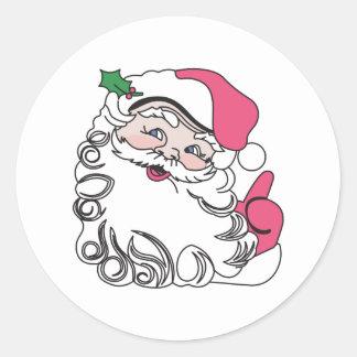 Santa hace frente pegatina redonda