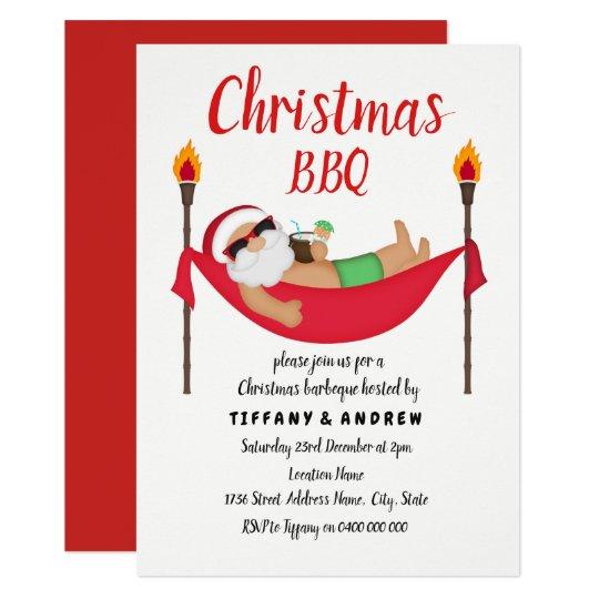 santa hammock summer christmas barbeque bbq invite zazzle com