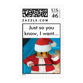 Santa Hamster Stamp with text