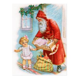 Santa Handing Out Christmas Presents Postcard