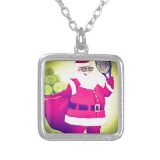 Santa handles Tennis racket Silver Plated Necklace