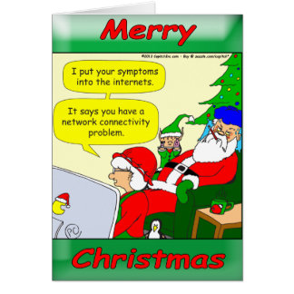 Santa has a cold and Mrs. Claus is trying to help Card