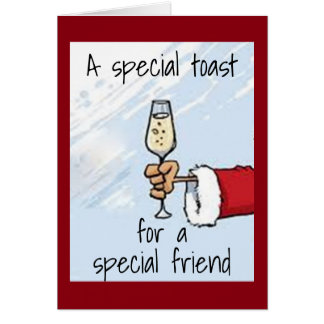"""SANTA HAS A """"SPEICAL"""" BIRTHDAY/CHRISTMAS TOAST CARD"""