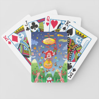 Santa has a Zeppelin to Deliver Christmas Gifts Bicycle Playing Cards