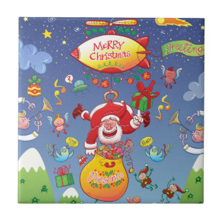 Santa has a Zeppelin to Deliver Christmas Gifts Ceramic Tile