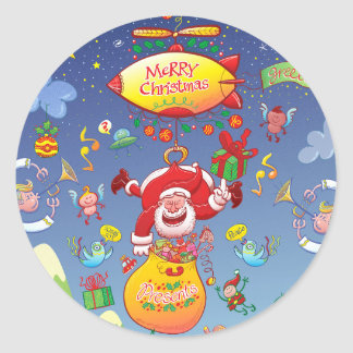 Santa has a Zeppelin to Deliver Christmas Gifts Classic Round Sticker