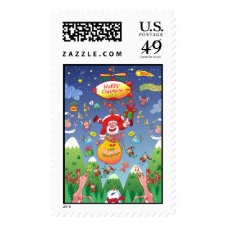 Santa has a Zeppelin to Deliver Christmas Gifts Postage Stamp