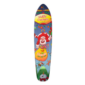 Santa has a Zeppelin to Deliver Christmas Gifts Skateboard