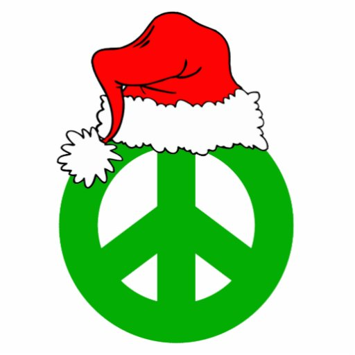 Santa hat and peace symbol acrylic cut out