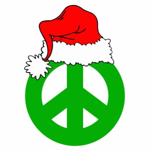 Santa Hat And Peace Symbol Acrylic Cut Out Zazzle