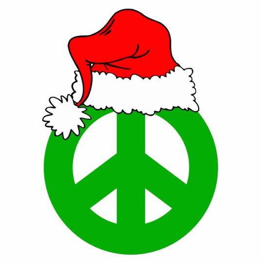 Santa hat and peace symbol statuette