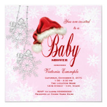 Santa Hat and Pink Snowflake Christmas Baby Shower Card