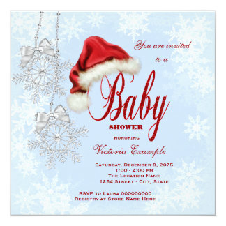 Santa Hat and Snowflakes Christmas Baby Shower Announcements