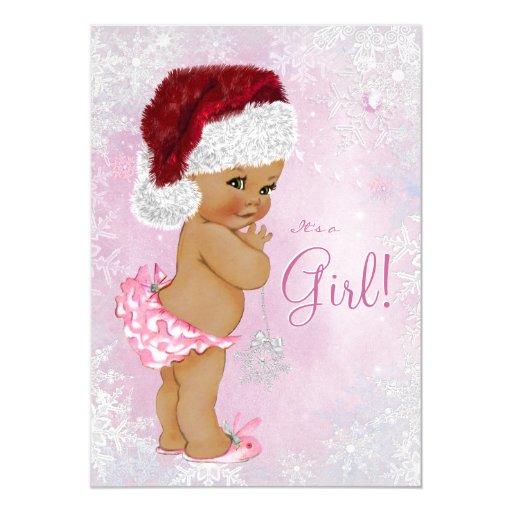 Santa Hat Baby Girl Winter Wonderland Baby Shower 5x7 Paper Invitation Card