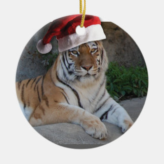 Santa Hat Bengal Tiger Ceramic Ornament