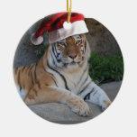 Santa Hat Bengal Tiger Christmas Tree Ornaments