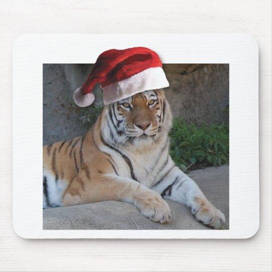 Santa Hat Bengal Tiger Mouse Pad