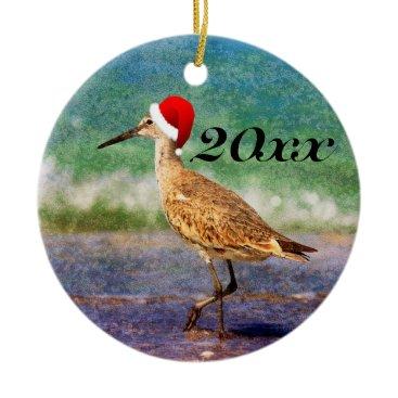 Beach Themed Santa Hat Bird Tropical Beach Christmas Ornament