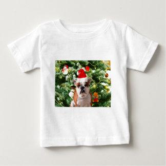 Santa Hat Bulldog Christmas Tree Snowman Gift Box Baby T-Shirt