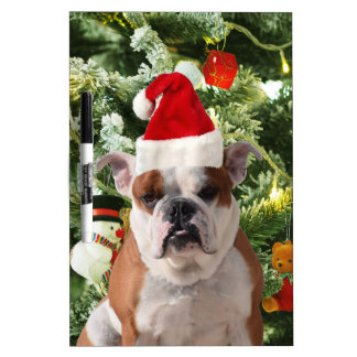 Santa Hat Bulldog Christmas Tree Snowman Gift Box Dry Erase Board