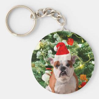 Santa Hat Bulldog Christmas Tree Snowman Gift Box Keychain