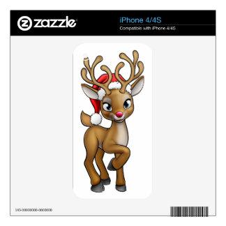 Santa Hat Cartoon Christmas Reindeer iPhone 4S Decal