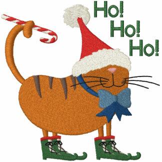 Santa Hat Cat Embroidered Shirt