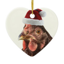 Santa Hat Chicken Ceramic Ornament