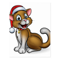 Santa Hat Christmas Cat Postcard