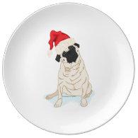 Santa Hat Christmas Pug Porcelain Plate