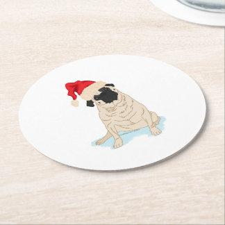 Santa Hat Christmas Pug Round Paper Coaster