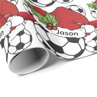 Santa Hat Christmas Soccer Ball Gift Wrap Paper